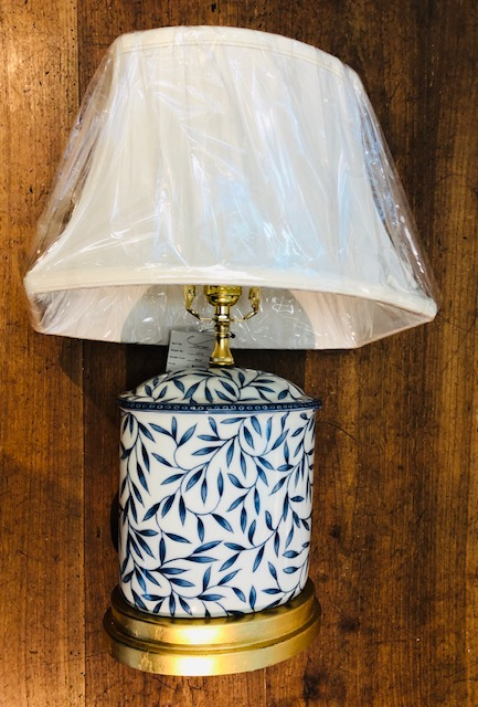 Blue & White Leaf Lamp