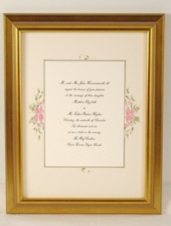 Gold Bead Framed Wedding Invitation