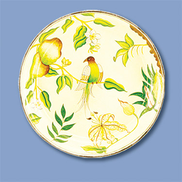 Round Tray w/Bird on Pear Tree Branch