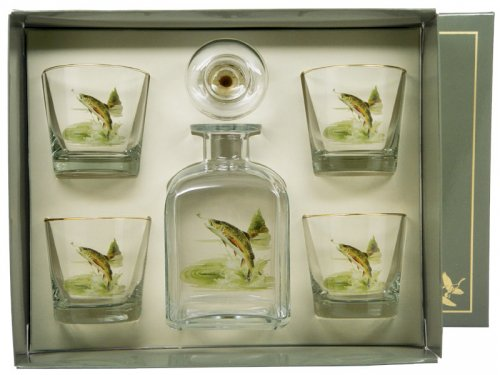 Decanter & 4 Double Old Fashion Glasses Trout motif