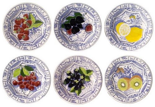 Handpainted Fruit Dessert Plates set of 4