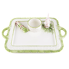 Bunny and Asparagus on Basket tray with Handles
