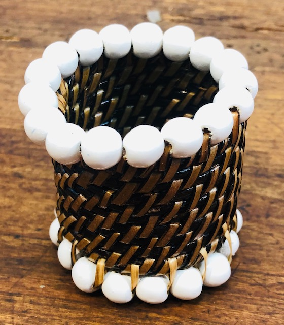 Wicker napkin Ring with White Beads