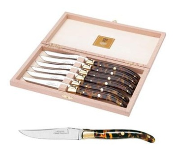 "Berlingot ""Tortoise"" Handle set of 6 Steak Knives"