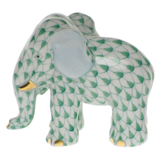 Minature Green Elephant with Trunk Down