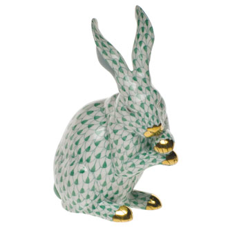 Medium Green Bunny with Paws Up
