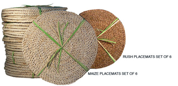Natural Rush Round Place Mats set of 6