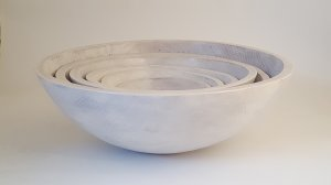 "15"" Round White Oak Salad Bowl"